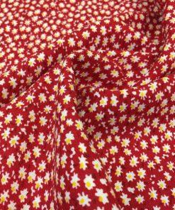 Çıtır Çiçek Desenli Viskon Kırmızı