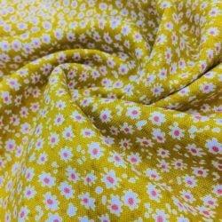 Çıtır Çiçek Desenli Viskon Sarı
