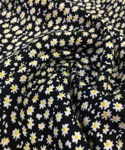 Çıtır Çiçek Desenli Viskon Siyah