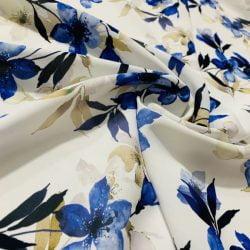 Çiçek Desenli Jorjet Krep Mavi