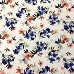 Çiçek Desenli Jorjet Krep Nar Çiçeği