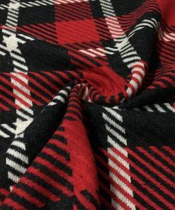 Yünlü Ekoseli Kışlık Kumaş Bordo Siyah