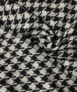 Kazayağı Desenli Kumaş Gri Siyah