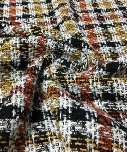 Kiremit Çizgili Kazayağı Şanel Desenli Kumaş