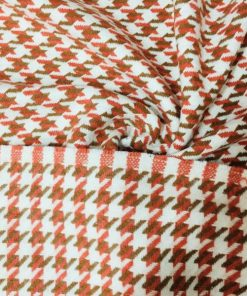 Mercan Beyaz Kazayağı Desenli Kumaş
