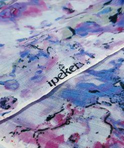 Pastel Desenli İpeker Şifon Lila