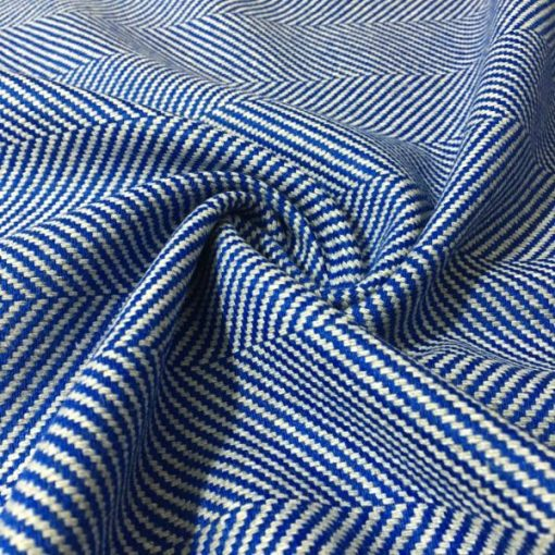 Mavi Balıksırtı Desenli Kumaş