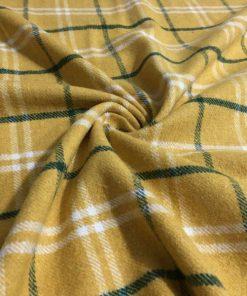 Yünlü Ekoseli Kumaş Sarı
