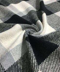 Yünlü Ekoseli Kumaş Siyah Beyaz