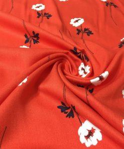 Çiçek Desenli Viskon Kırmızı S1