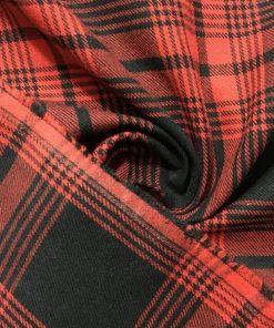 Kırmızı Siyah Pamuk Ekose Kumaş S1