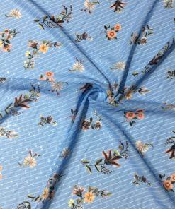 Mavi Çiçekli Desenli Şifon S1