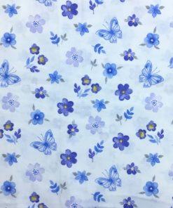 Çiften Çıtır Çiçek Desenli Pazen Mavi S1AYT