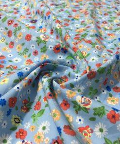 Çıtır Çiçek Desenli Poplin Mavi S1