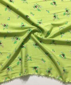 Yaz Yeşili Desenli Pamuk Viskon Kumaş S1