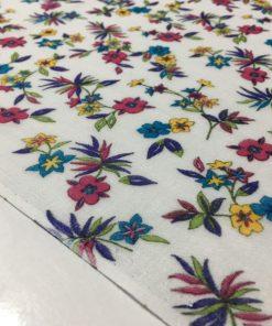 Beyaz Pembe Çiçekli Tülbent Kumaş S1