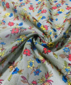 Çıtır Çiçek Desenli Tülbent Kumaş Soft Yeşil S1