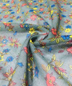 Çıtır Çiçek Desenli Tülbent Kumaş Zümrüt S1