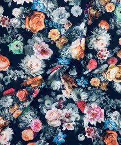 Dökümlü Çiçek Desenli Krep S1AYT
