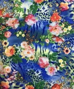 Dökümlü Çiçek Desenli Krep Mavi S1AYT