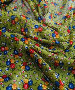 Çıtır Çiçek Desenli Tülbent Yeşil S1