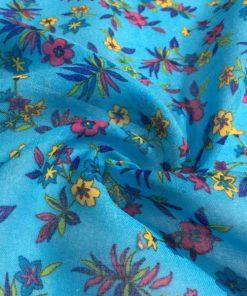 Mavi Çiçek Desenli Tülbent S1
