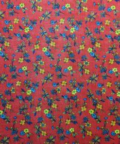 Kırmızı Sarı Çiçekli Tülbent S1