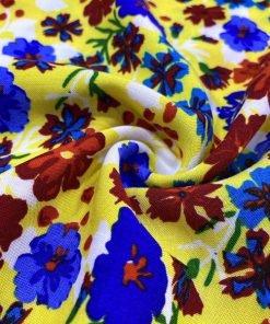 Çiçek Desenli Viskon Sarı MHRS1
