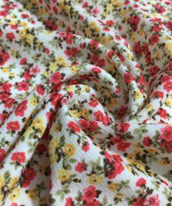 Çıtır Çiçek Desenli Krep Kırmızı S1