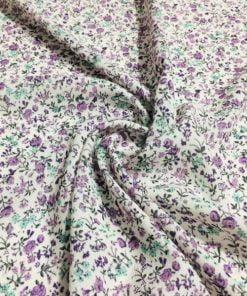 Çıtır Çiçek Desenli Krep Lila S1