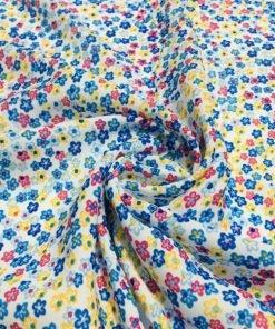 Çıtır Çiçek Desenli Saten Krep Mavi S1