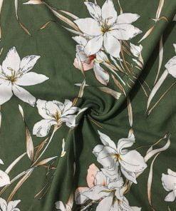 Palmiye Çiçekli Ham Keten Yeşil S1