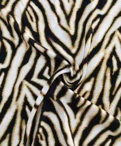 Caramel Zebra Desenli İpek Viskon S1